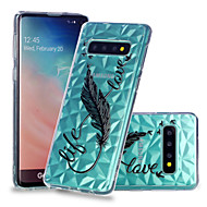 cheap -Case For Samsung Galaxy Galaxy S10 Plus / Galaxy S10 E Shockproof / Transparent / Pattern Back Cover Feathers Soft TPU for S9 / S9 Plus / S8 Plus