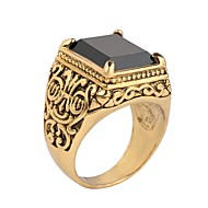 זול -בגדי ריקוד גברים טבעת טבעת החותם שרף Fashion Ring תכשיטים שחור / אדום / זהב /  שחור עבור יום הולדת מתנה יומי