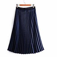 זול -חצאיות נדנדה באורך הברך - בצבע מלא