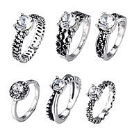 저렴한 -여성용 합성 다이아몬드 레트로 반지 세트 빈티지 패션 반지 보석류 실버 제품 일상 제전 5 / 8 / 6½ / 7½ 6PCS