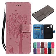 Hülle Für Xiaomi Mi 8 Lite / Xiaomi Redmi Note 7 Geldbeutel / Kreditkartenfächer / mit Halterung Ganzkörper-Gehäuse Solide / Katze / Baum Hart PU-Leder für Xiaomi Pocophone F1 / Xiaomi Redmi 6 Pro