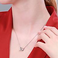 저렴한 -여성용 목걸이 S925 스털링 실버 실버 40+3 cm 목걸이 보석류 1 개 제품 생일 애인