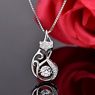 Χαμηλού Κόστους -Γυναικεία Κρεμαστά Κολιέ Προσομειωμένο διαμάντι S925 Sterling Silver Αλεπού Γλυκός Ασημί 45 cm Κολιέ Κοσμήματα 1pc Για Καθημερινά