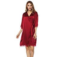 cheap -Women's Satin & Silk Nightwear - Lace Solid Colored