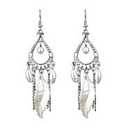 levne -Dámské Třásně Visací náušnice Napodobenina perel Náušnice Leaf Shape stylové Šperky Stříbrná Pro Denní 1 Pair