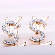 저렴한 -여성용 스터드 귀걸이 모조 다이아몬드 귀걸이 불화 클래식 보석류 골드 제품 일상 1 쌍