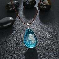 저렴한 -여성용 빛나는 돌 팬던트 목걸이 꽃장식 유행의 패션 우아한 야광의 멋진 블루 40.5+5 cm 목걸이 보석류 1 개 제품 일상 카니발 거리 클럽