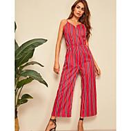 cheap -Women's Basic Red Jumpsuit, Striped Print M L XL