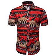 cheap -Men's Shirt - Floral / Geometric / Color Block Print Red XXXL