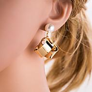 Χαμηλού Κόστους -Γυναικεία Ασημί Χρυσό Γεωμετρική Κρεμαστά Σκουλαρίκια Απομίμηση Μαργαριταριού Σκουλαρίκια Ευρωπαϊκό Κοσμήματα Χρυσό / Ασημί Για Καθημερινά 1 Pair
