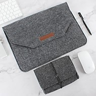 abordables -sac de protection pour ordinateur portable en feutre de laine naturelle plus bloc d'alimentation compatible 11-15 pouces macbook pro portable air macbook gris noir