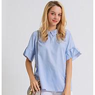 billige -Dame - Stribet Drapering / Patchwork Skjorte Blå L
