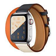baratos -faixa de passeio duplo de couro genuíno para série de relógio de apple 4 3 2 1 correia de couro pulseira pulseira de relógio de pulseira para série iwatch 42mm 38mm 40mm substituição de pulseira de
