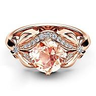 halpa -Naisten Vaaleanpunainen Kristalli Vintage tyyli Sormus Kokosormen sormus Ruusukulta-päällystetty Timanttijäljitelmä Flower Korea Muoti Tyylikäs Muotisormukset Korut Ruusukulta Käyttötarkoitus Lahja