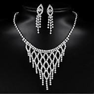 זול -בגדי ריקוד נשים פרנזים סט תכשיטים מסוגנן לִכלוֹל עגילים צמודים שרשרת כסף עבור יומי חגים