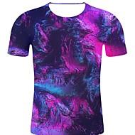 billige -T-skjorte Herre - 3D / Regnbue / Grafisk, Trykt mønster Rock / overdrevet Lilla XXL