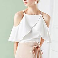 billige -Dame - Ensfarvet Drapering Bluse Hvid L