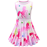 cheap -Kids Toddler Girls' Active Street chic Cartoon Sleeveless Above Knee Dress Fuchsia