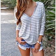 billige -T-skjorte Dame - Stripet Hvit US8