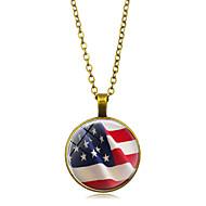 levne -Dámské Náhrdelníky s přívěšky americká vlajka Vlajka Evropský Moderní Casual / Sportovní Sklo Chrome Zlatá Černá Stříbrná 45+5 cm Náhrdelníky Šperky 1ks Pro Dar Denní Festival