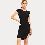 رخيصةأون -المرأة فوق الركبة تي شيرت اللباس الأسود ق م ل xl
