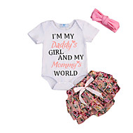 cheap -Baby Girls' Active / Basic Print Short Sleeve Short Clothing Set White