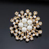 tanie -Damskie Broszki Sztuczna perła Pozłacany Kwiat Elegancki Broszka Biżuteria Złoty Na Impreza Codzienny