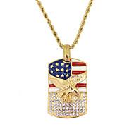 levne -Pánské Náhrdelníky s přívěšky americká vlajka Eagle Vlajka Evropský Moderní Casual / Sportovní Nerez Zlatá 60 cm Náhrdelníky Šperky 1ks Pro Dar Denní Festival