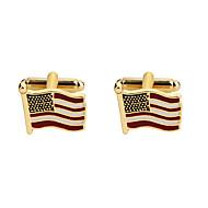 رخيصةأون -ذهبي أزرار أكمام سبيكة علم / العلم الأمريكي كلاسيكي / أوروبي رجالي مجوهرات من أجل مناسب للحفلات / مهرجان