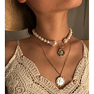 cheap -Women's Pendant Necklace Necklace Layered Necklace Ethnic Fashion Chrome Gold 31 cm Necklace Jewelry 1pc For Gift Daily Carnival Holiday Festival
