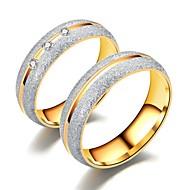 رخيصةأون -الزوجين خواتم الزوجين / خاتم 1PC ذهبي / ذهبي روزي الفولاذ المقاوم للصدأ دائري أساسي / موضة هدية / مناسب للبس اليومي / وعد مجوهرات