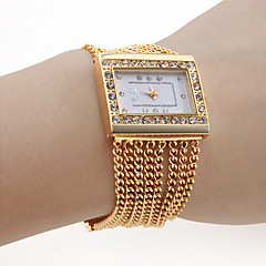 Women's PC Movement Golden Band White Dial Bracelet Watch with Czechic Diamond Decoration Cool Watches Unique Watches Strap Watch