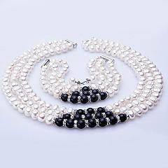 perla de agua dulce conjunto de joyas - collar, pulsera y pendientes