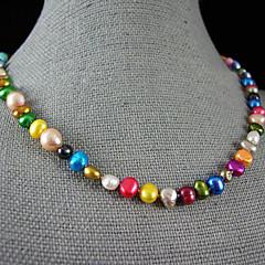 preiswerte Halsketten-Perle Perlenkette - Perle, Sterling Silber Rosa, Regenbogen Modische Halsketten Für Party, Jahrestag, Geschenk / Alltag
