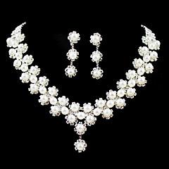 여성용 라인석 의상 보석 모조 진주 합금 목걸이 귀걸이 제품 결혼식 파티 생일 약혼 결혼 선물