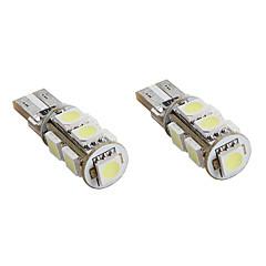 preiswerte Autozubehör-t10 1.5W 9x5050 SMD weißes Licht LED-Lampe canbus für Auto Signalleuchten (2-pack, DC 12V)