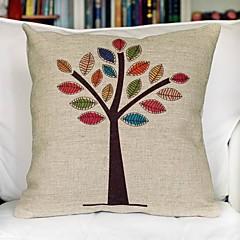 Color Tree Cotton Decorative Pillow Cover