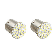1156 22*1206 SMD  White LED Car Signal Lights (2-Pack, DC 12V)
