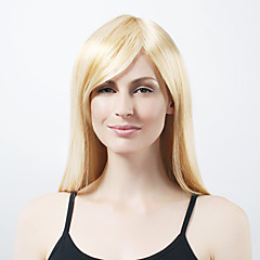Kapaksız Ekstra Uzun Sentetik hafif sarışın düz saç peruk