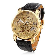 お買い得  ラグジュアリー腕時計-WINNER 男性用 スケルトン腕時計 機械式時計 自動巻き 耐水 透かし加工 PU バンド ハンズ ぜいたく ブラック - ゴールデン