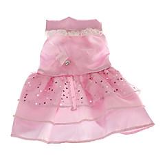お買い得  犬用ウェア&アクセサリー-犬 ドレス 犬用ウェア スパンコール ホワイト ピンク テリレン コスチューム ペット用 結婚式