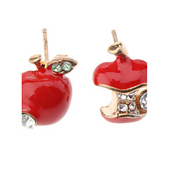 Серьги-гвоздики Имитация Алмазный Симпатичные Стиль Имитация Алмазный Сплав Яблоки Красный Зеленый Бижутерия Для Повседневные