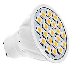 1,5w gu10 led spotlight mr16 20 smd 5050 190lm varm hvit 3000k ac 220-240v
