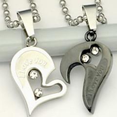 Недорогие Ожерелья-Ожерелья с подвесками - Нержавеющая сталь Сердце, Любовь Серебряный Ожерелье Бижутерия Назначение Повседневные