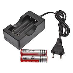 abordables Baterías-Cargador AC con Enchufe EU 100-240V + 2 Pilas Recargables UltraFire 18650 3.7V 300mAh