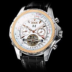preiswerte Herrenuhren-Herrn Armbanduhr / Mechanische Uhr Transparentes Ziffernblatt Leder Band Luxus Schwarz / Automatikaufzug