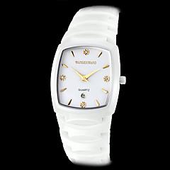 preiswerte Herrenuhren-Herren-Keramik Quadrat Wahl Elfenbein-Band Quarz-Armbanduhr