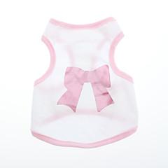 お買い得  猫の服-犬 Tシャツ 犬用ウェア 蝶結び ピンク コットン コスチューム ペット用