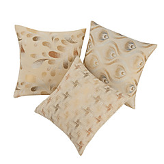 Set of 3 Jacquard Beige Polyester & Cotton Decorative Pillow Cover