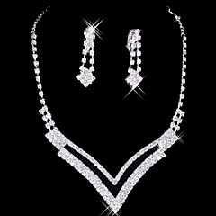 Grote Alloy Silver Plated met strass bruiloft sieraden set